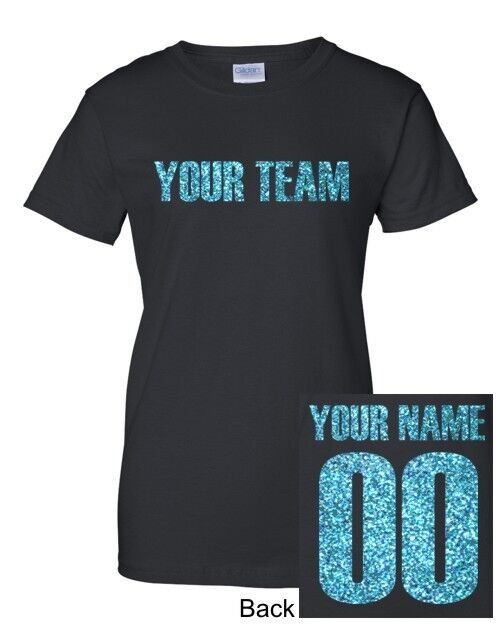custom women 039 s glitter lettering jersey t shirt personalized team tee new s 3xl