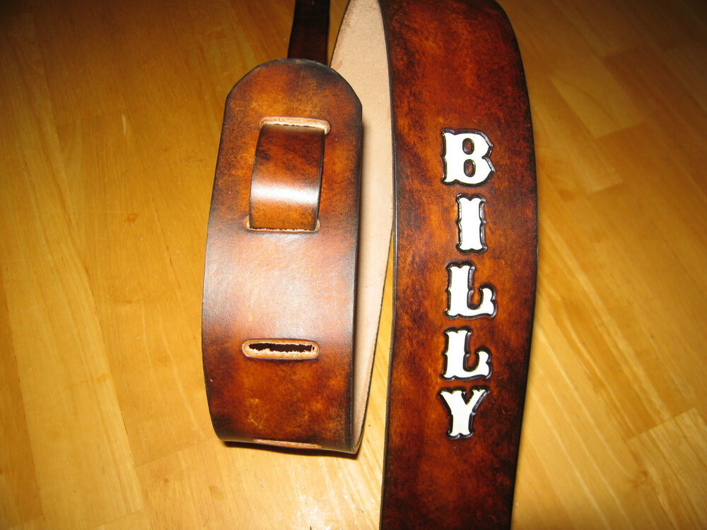 custom made leather antique brown guitar strap with your name white letters ebay. Black Bedroom Furniture Sets. Home Design Ideas