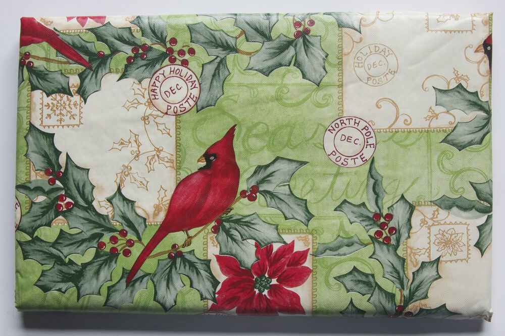 Asst Sizes Red Cardinal Vinyl Tablecloth Christmas Holly