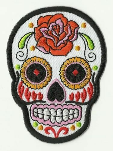 écusson ECUSSON PATCH THERMOCOLLANT GIRL SKULL BLANC MEXICAN TATTOO 9 X 6,5 CMS