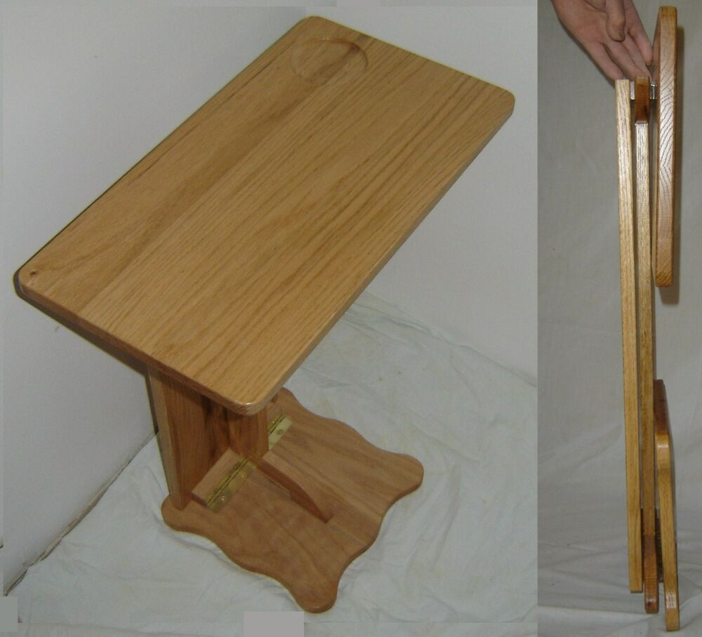 New Solid Oak Wood Folding Tv Tray Laptop Table Rv Tray