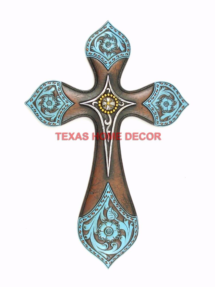 """Turquoise Decorative Wall Cross Layered Floral Accents Silver Cross Concho 11.5"""" 
