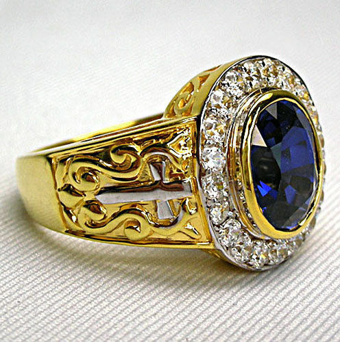 Diamond Sapphire 14k Yellow Gold Sterling Silver Christian Bishop Ring Mens New Ebay