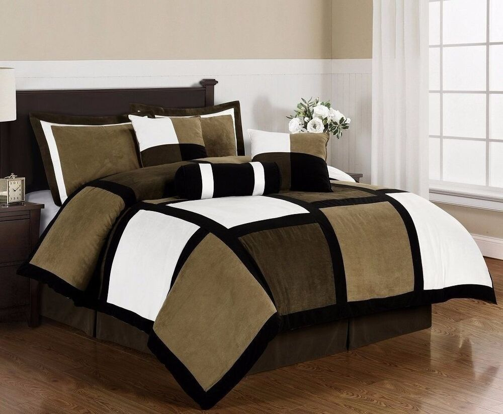Black Brown White Microsuede Patchwork 7-Piece Duvet Cover