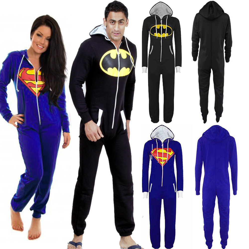 damen herren jumpsuit overall trainingsanzug loungewear batman superman kost m ebay. Black Bedroom Furniture Sets. Home Design Ideas