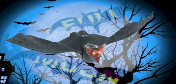 New flying bat halloween gothic collection decoration for Animated flying bat decoration