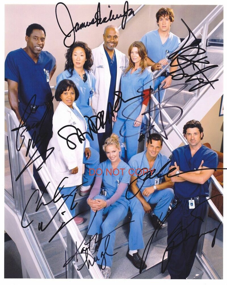 greys anatomy tv show 8x10 reprint original cast signed photo rp abc ebay