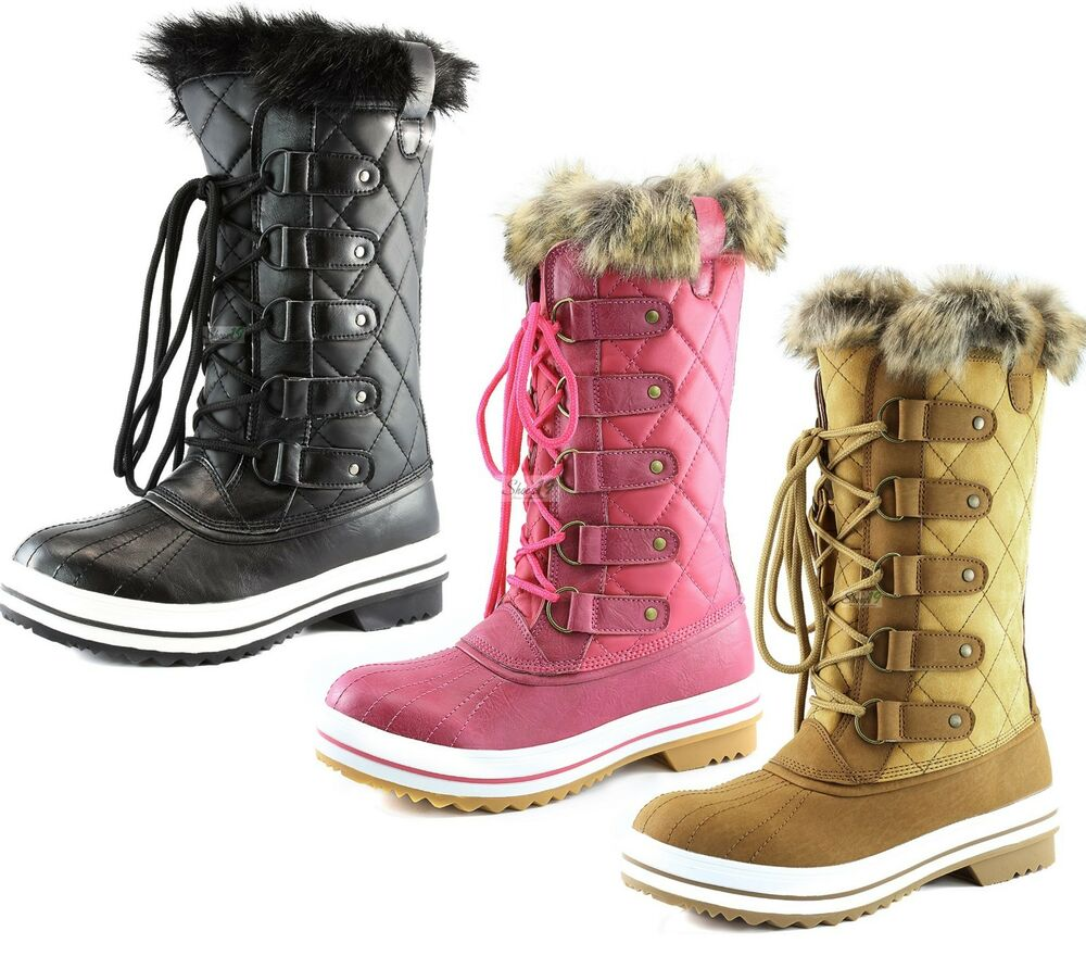 s lace up mid calf knee high flat fur