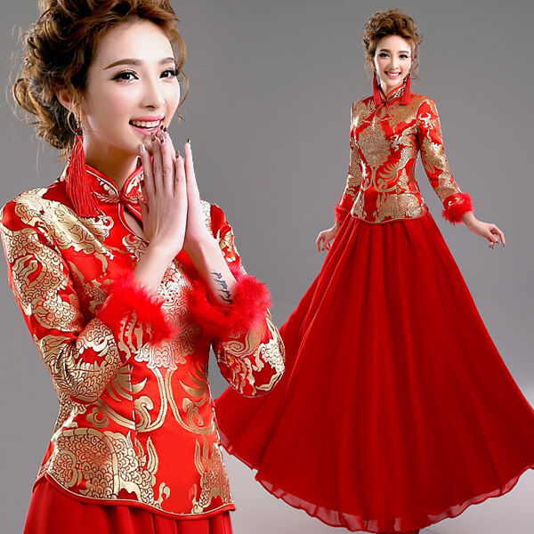 Red formal evening prom wedding dress bridal gown chinese for Ebay china wedding dress