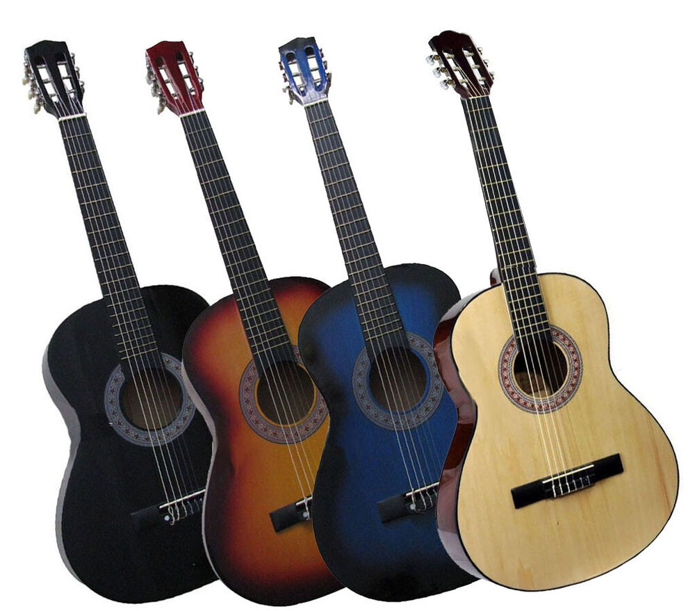 36 acoustic guitar beginners students adult 3 nylon 3 metal strings 3 4 size ebay. Black Bedroom Furniture Sets. Home Design Ideas