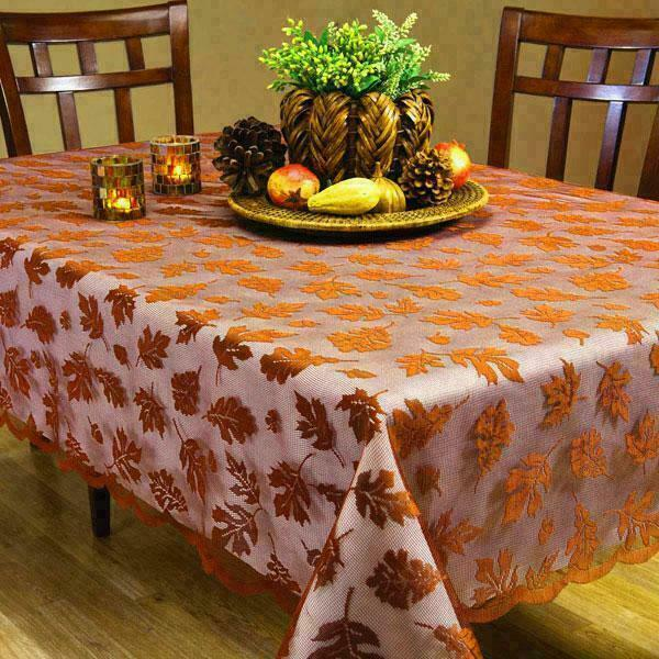 Autumn leaves lace tablecloth 52 x 70 oblong new ebay for Table 52 thanksgiving