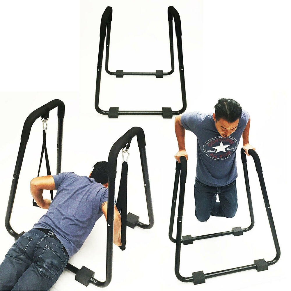Home gym dip stand exercise chest tricep rows w straps