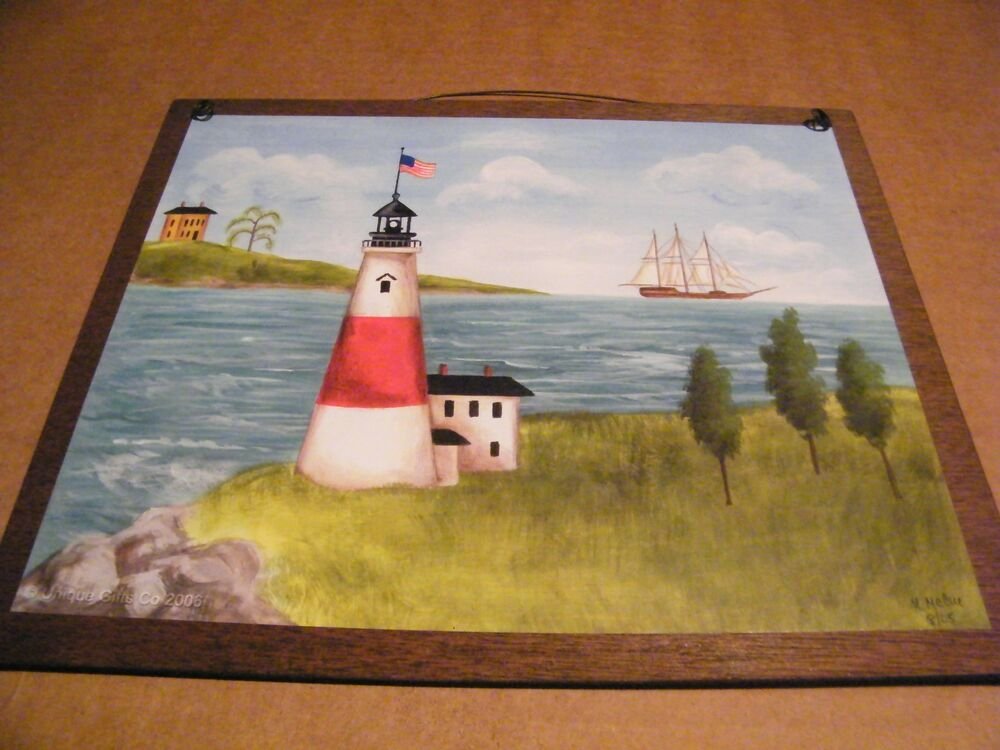 "Wooden Coastal Decor: 9x11"" Wood Country Primitive LIGHTHOUSE Sign Beach"