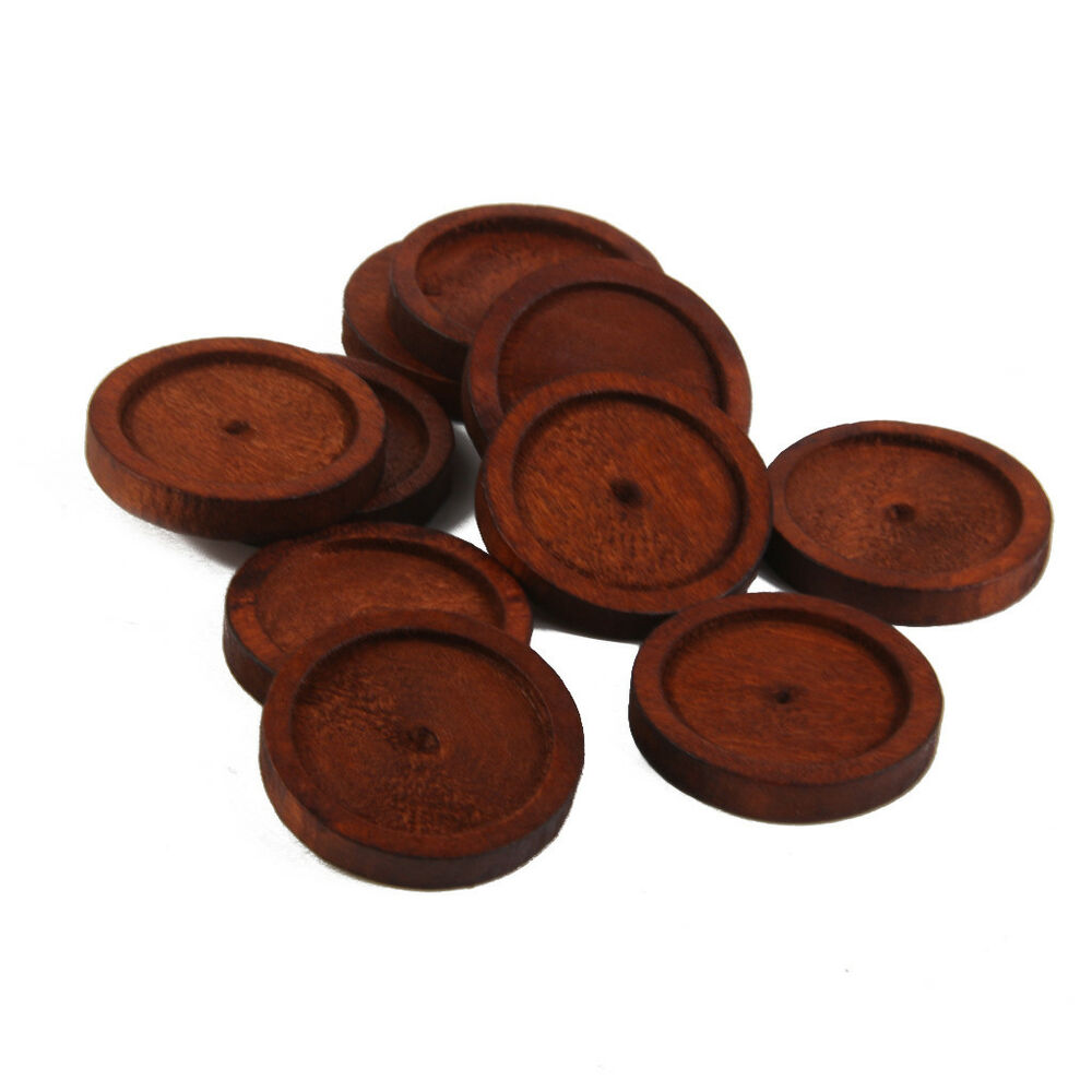 10pcs round antique wooden cameo base setting tray for Crafts that sell on ebay