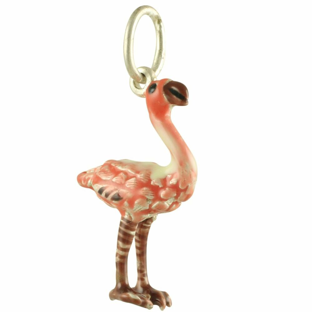 new 925 sterling silver and enamel pink flamingo bird