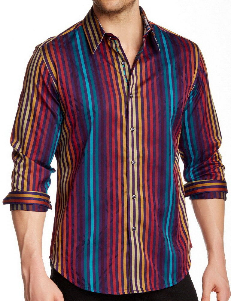 Mens Long Sleeve Striped Shirt