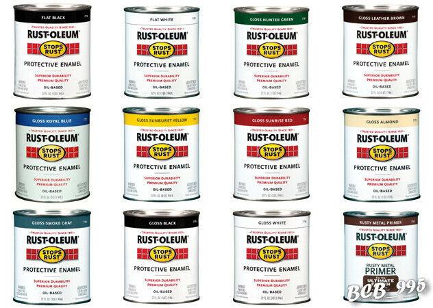 1 Quart Rust Oleum Paint Stops Rust Protective Enamel Oil Based For Metal More Ebay