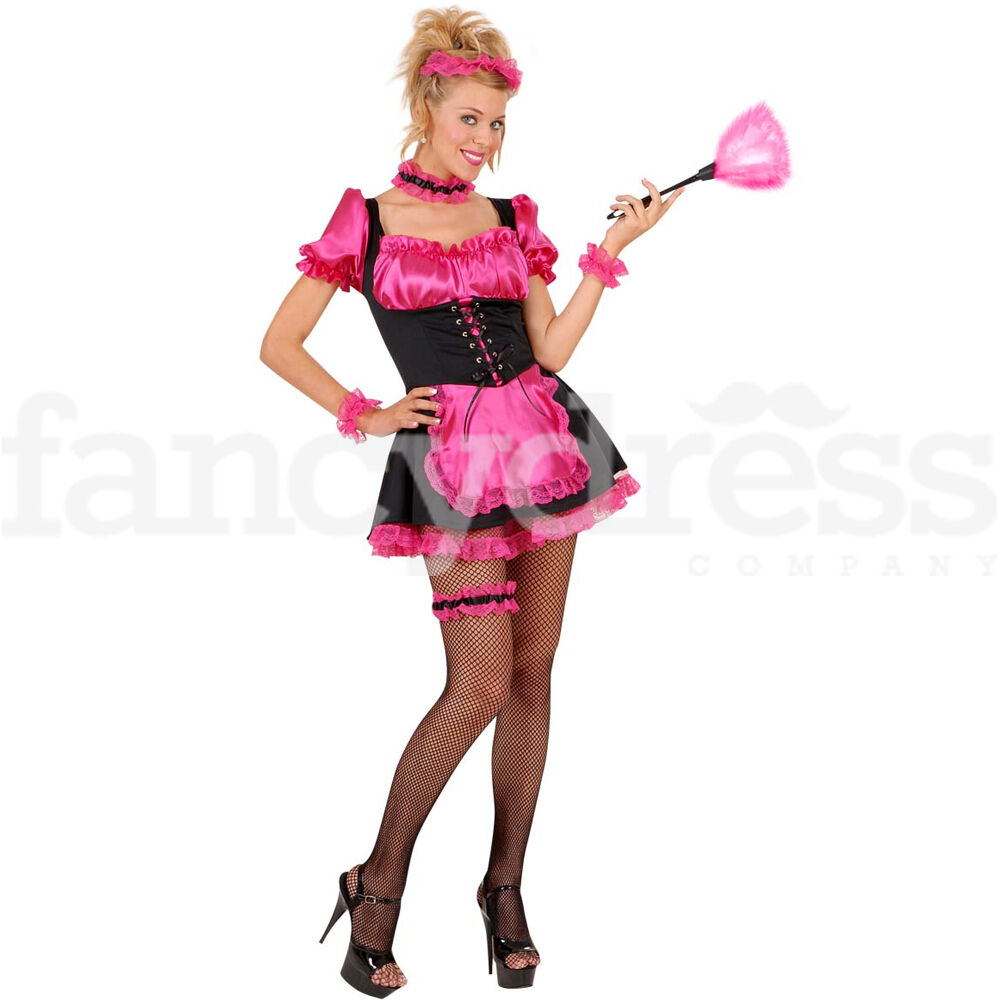 Sexy French Maid Costume Pink Black Hen Night Rocky Horror