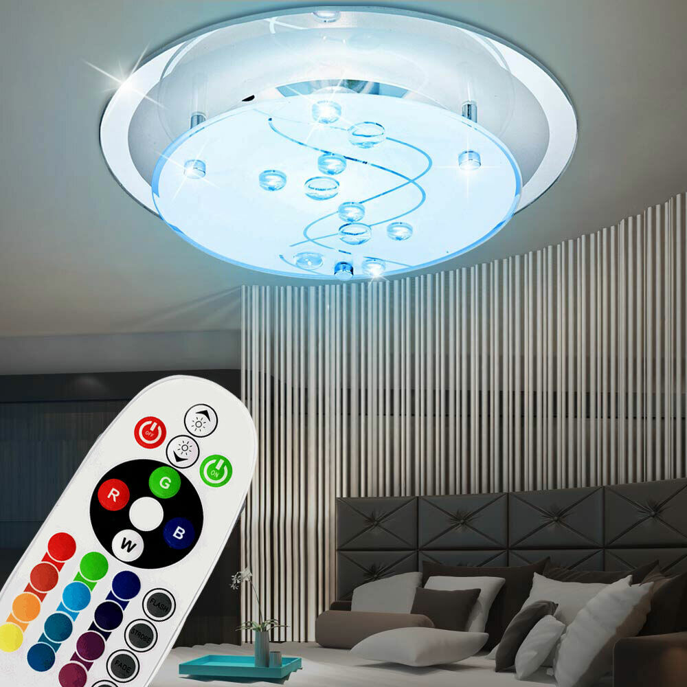 led decken lampe glas rgb farbwechsler leuchte rund licht dimmbar fernbedienung ebay. Black Bedroom Furniture Sets. Home Design Ideas