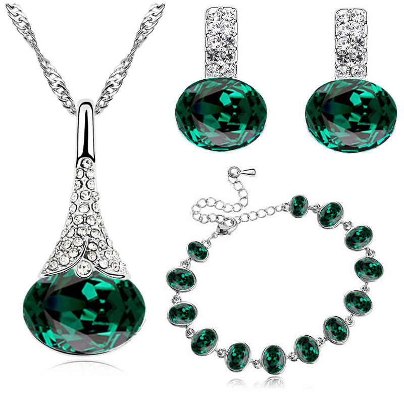 bracelet and earrings sets emerald green jewellery set earrings bracelet 7919