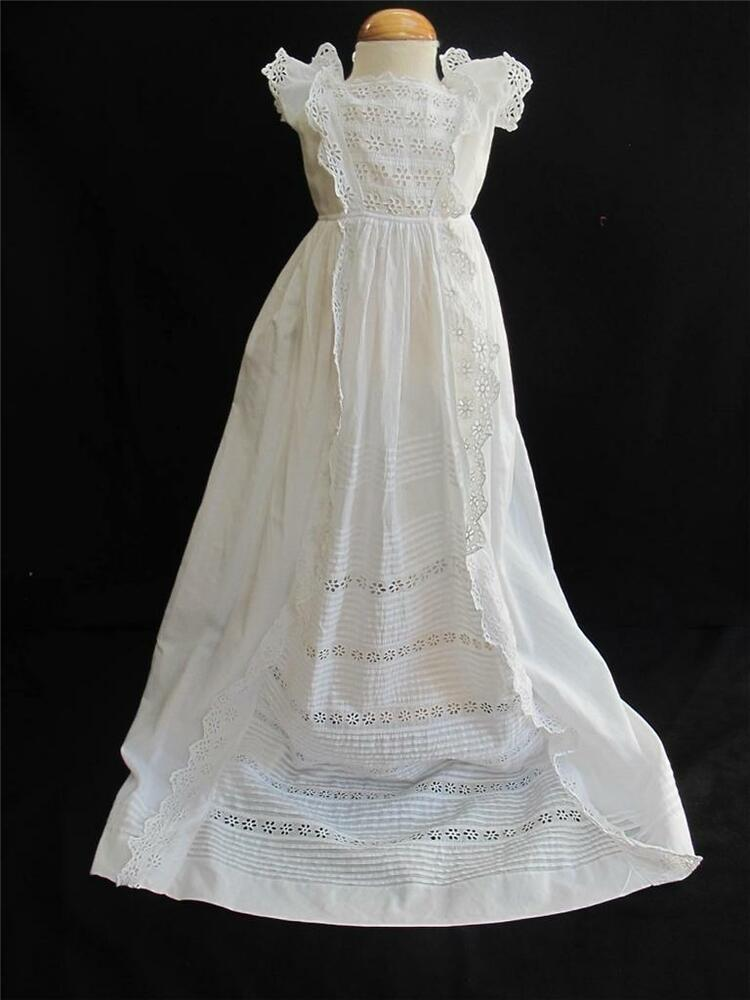 ANTIQUE VICTORIAN BRODERIE ANGLAISE WHITEWORK CHRISTENING ...