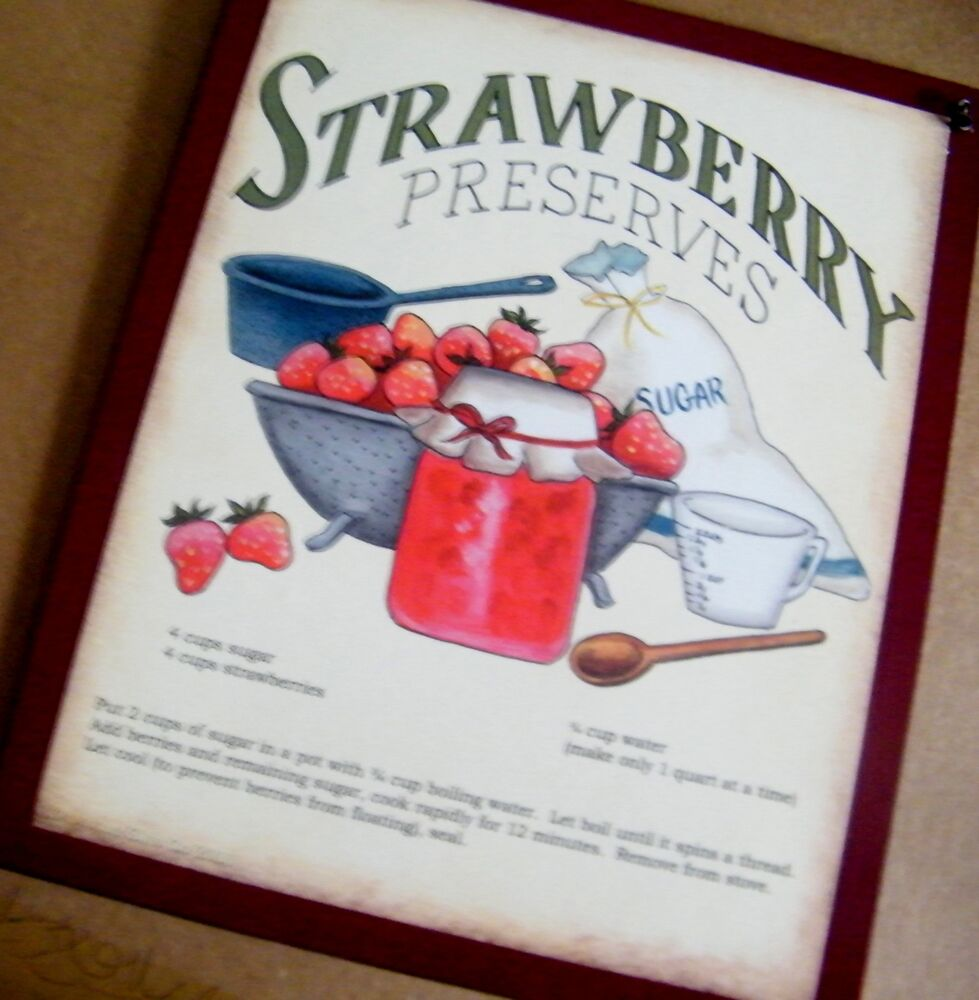 "Retro Kitchen Wall Decor: 9x11"" Retro Country STRAWBERRY Preserves RECIPE Kitchen Wall Art Decor Sign"
