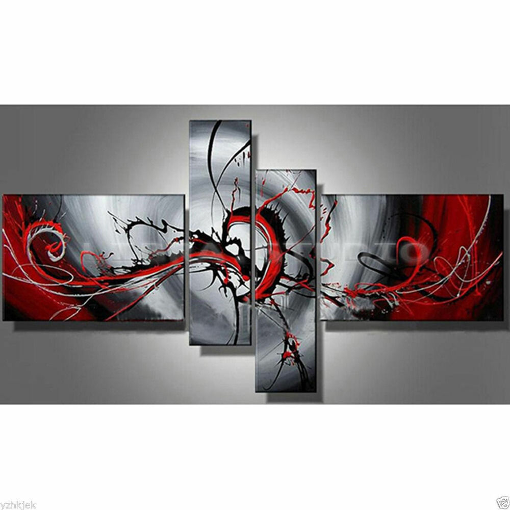 Wall Decor Red : Hand painted oil painting modern abstract black and red