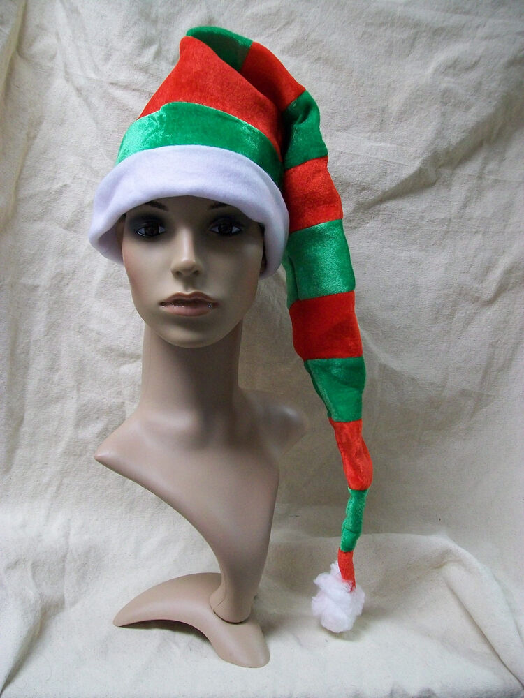 Fun long red green striped santa stocking hat candy cane