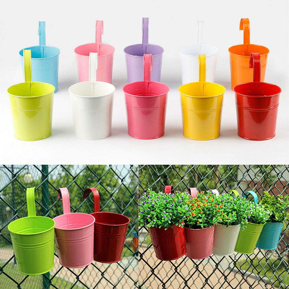 Metal iron flower pot 10 colours hanging balcony garden for Decorative hanging pots