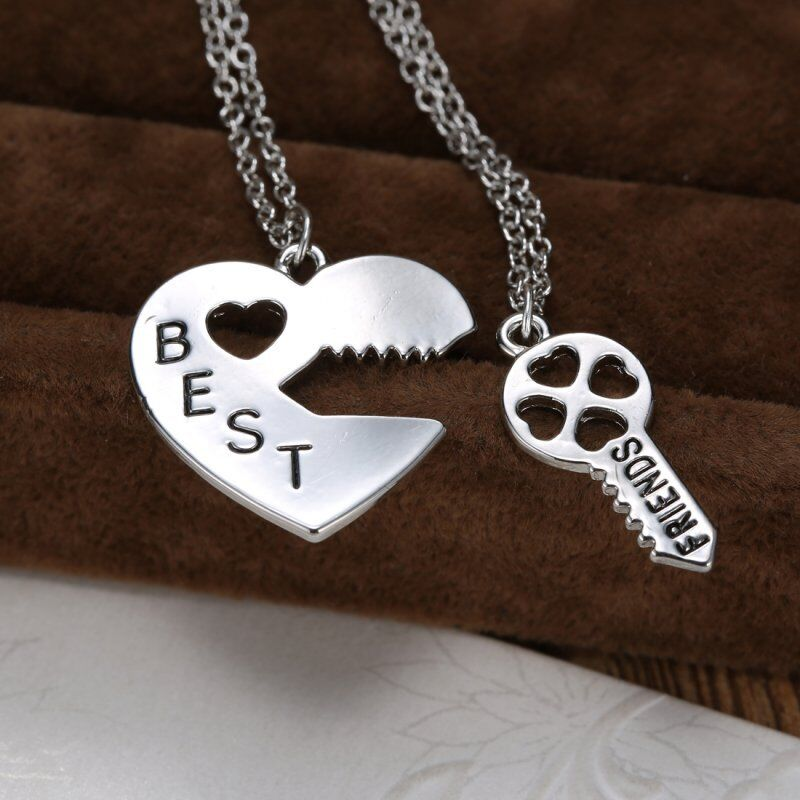 Friendship Quotes Jewelry: BF Best Friend Friendship Necklace Heart Key Set Silver