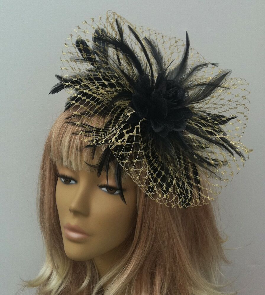 Bespoke Handmade Gold & Black Fascinator Hats Mother Of