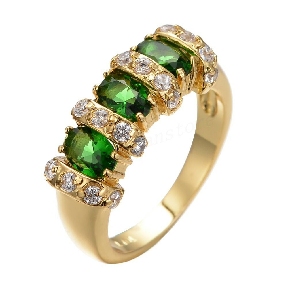 Size 7 8 9 vintage cz green emerald wedding ring 10kt for Emerald green wedding ring
