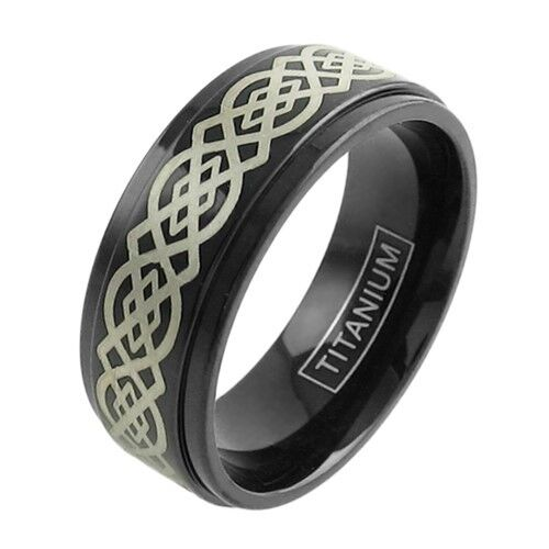 black titanium men 39 s gorgeous celtic knot wedding band ring size 9 13 ebay. Black Bedroom Furniture Sets. Home Design Ideas