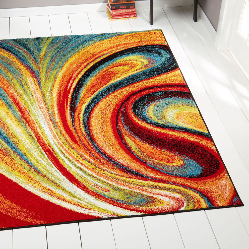Swirls Contemporary Modern Area Rug Multi-Color Abstract
