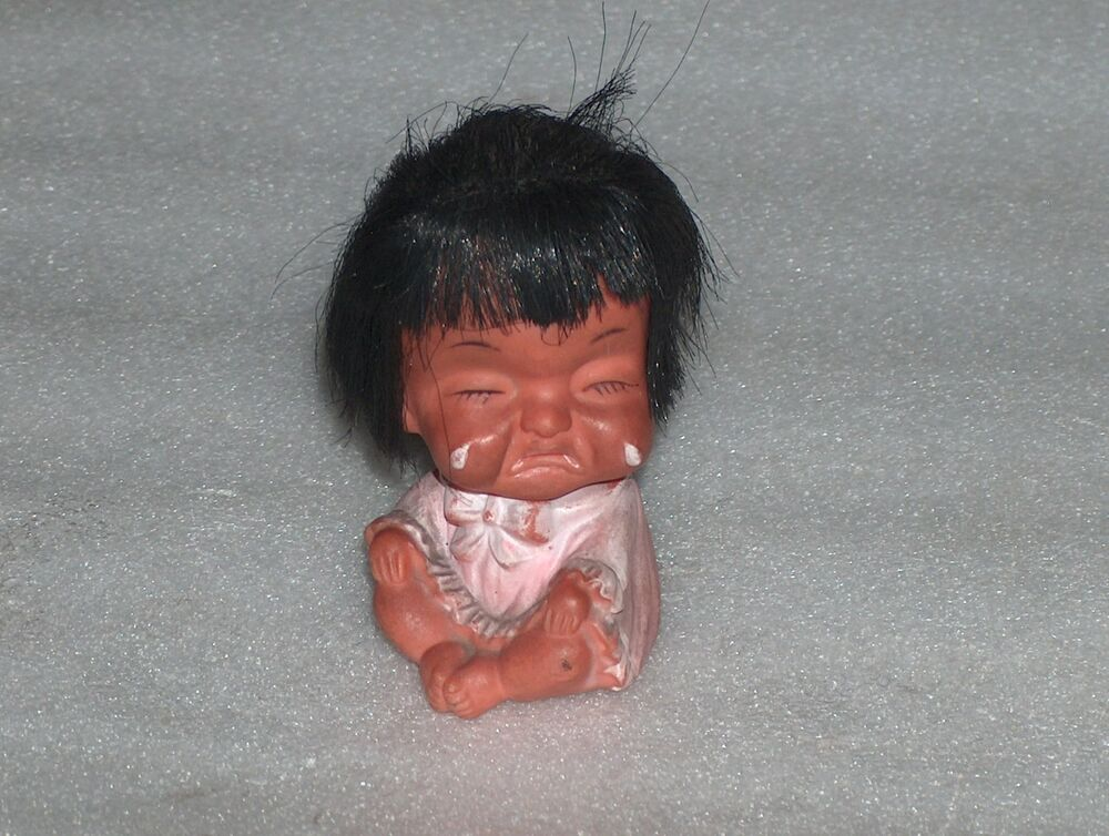Vintage Cute Rubber Doll Toy Crying Baby Girl Hong Kong