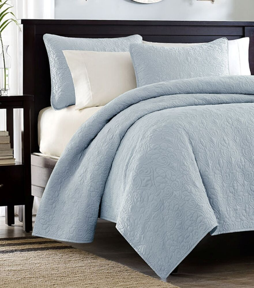 SKY BLUE MATELASSE 3pc Full Queen QUILT SET COTTON FILL
