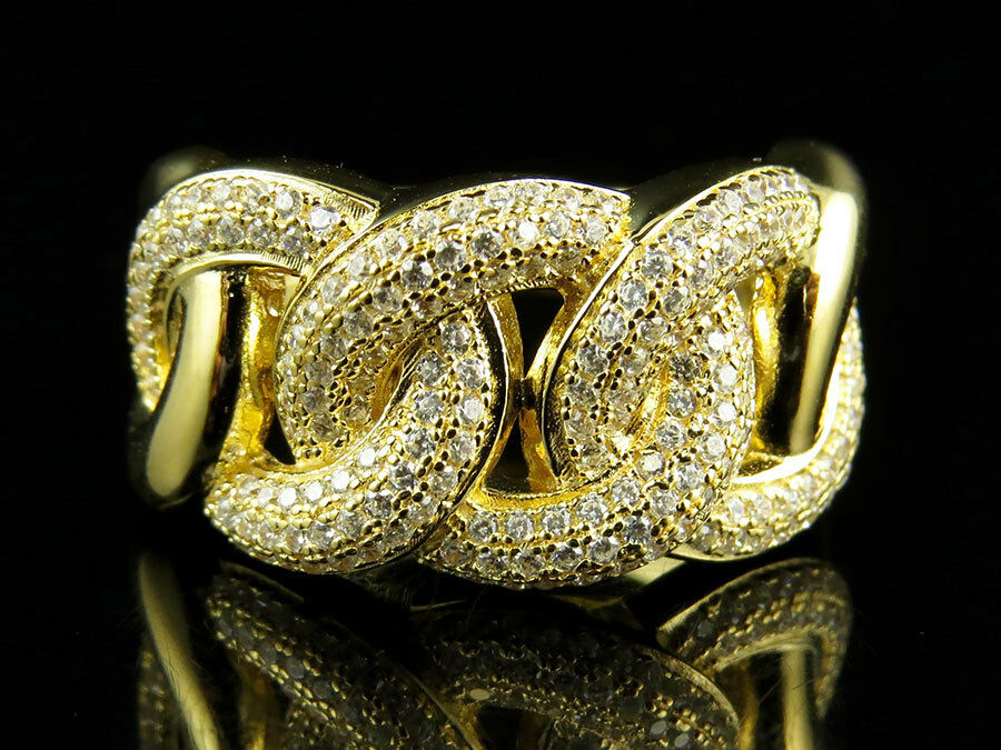 Yellow Gold Finish Sterling Silver Miami Cuban Link