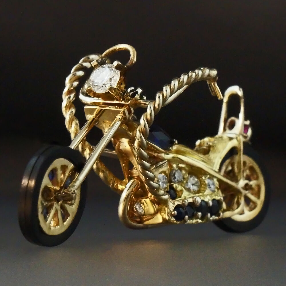Rare 14k yellow gold diamond custom harley davidson for Harley davidson jewelry ebay
