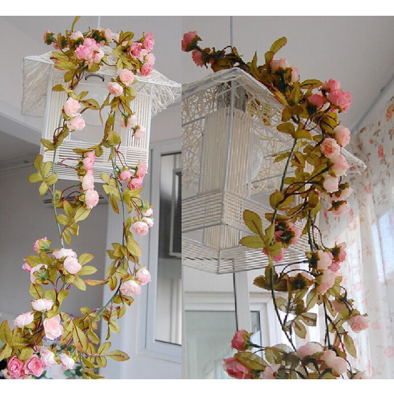 Home Decoration Flowers: Artificial Fake Silk Rose Flower Vine Hanging Garland