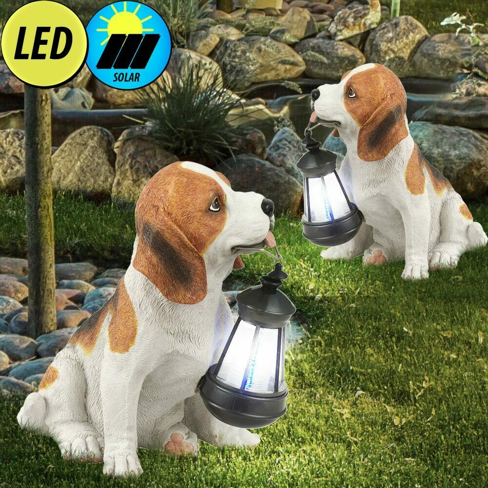 2er set led solar au en leuchte hund beagle laterne deko. Black Bedroom Furniture Sets. Home Design Ideas
