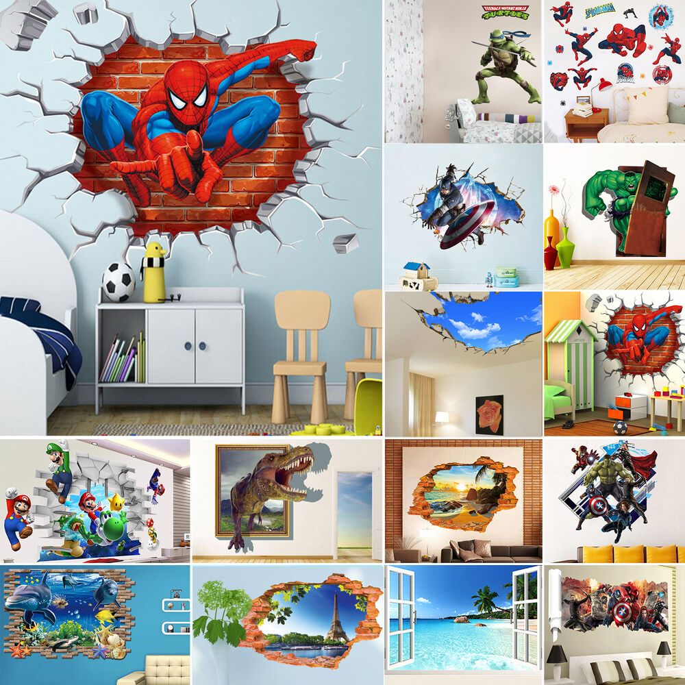 22 Types 3d Wall Stickers Removable Kids Nursery Room Home
