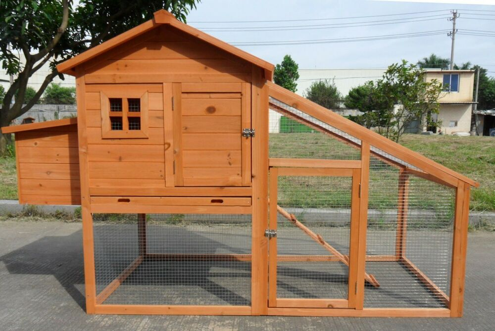New 75 large wood chicken coop backyard hen house 2 4 for Large chicken house