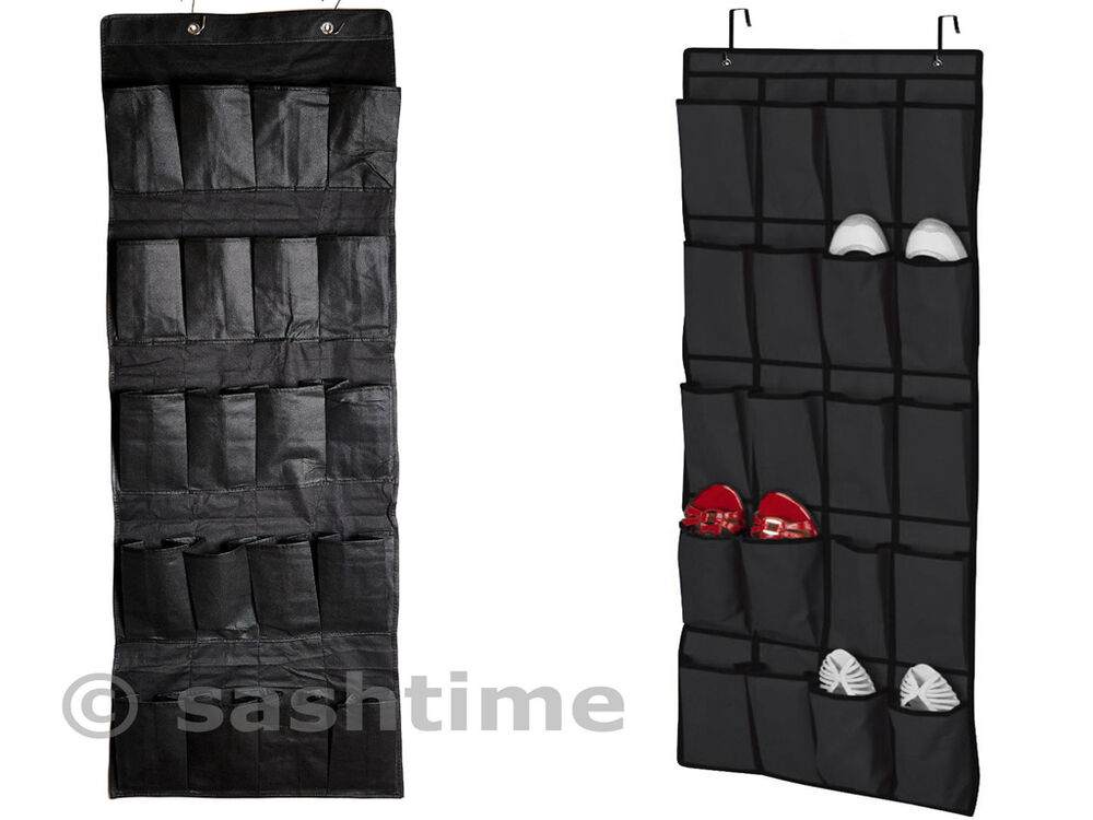 20 pocket hanging over door shoe organiser storage rack tidy space saver black ebay - Shoe storage small space pict ...