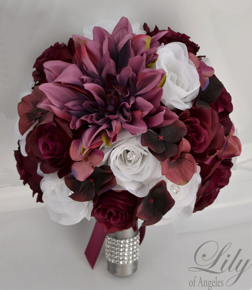 17piece package silk flower wedding bridal bouquet plum marsala sangria burgundy ebay. Black Bedroom Furniture Sets. Home Design Ideas