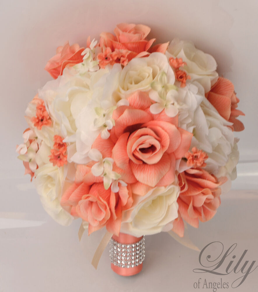 17 piece package silk flower wedding bridal bouquet posy decoration coral ivory ebay - Flowers good luck bridal bouquet ...