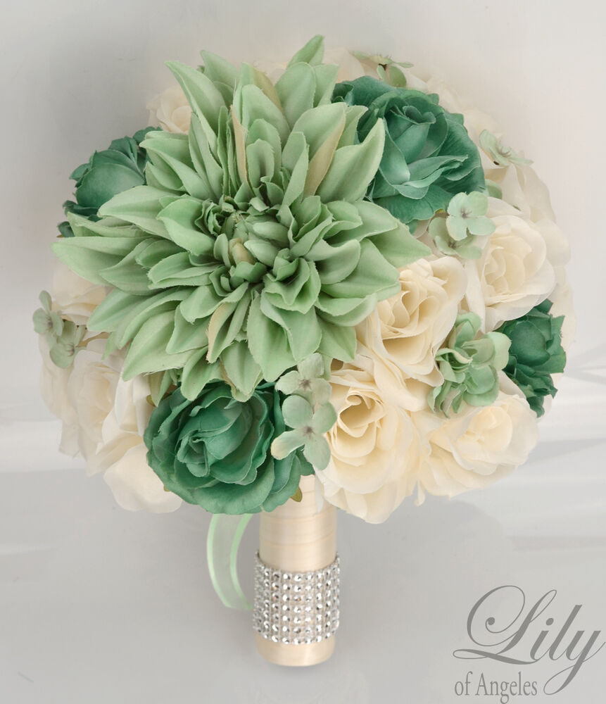 17 piece package silk flower wedding bridal bouquet sets mint green teal ivory ebay. Black Bedroom Furniture Sets. Home Design Ideas