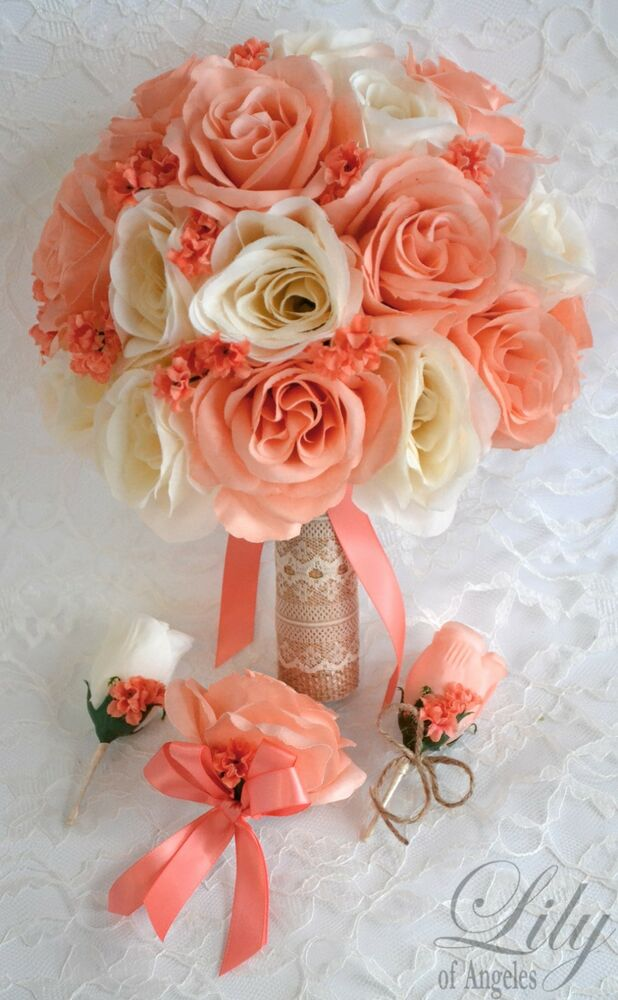 17 Piece Package Silk Flower Wedding Bridal Bouquet CORAL ...
