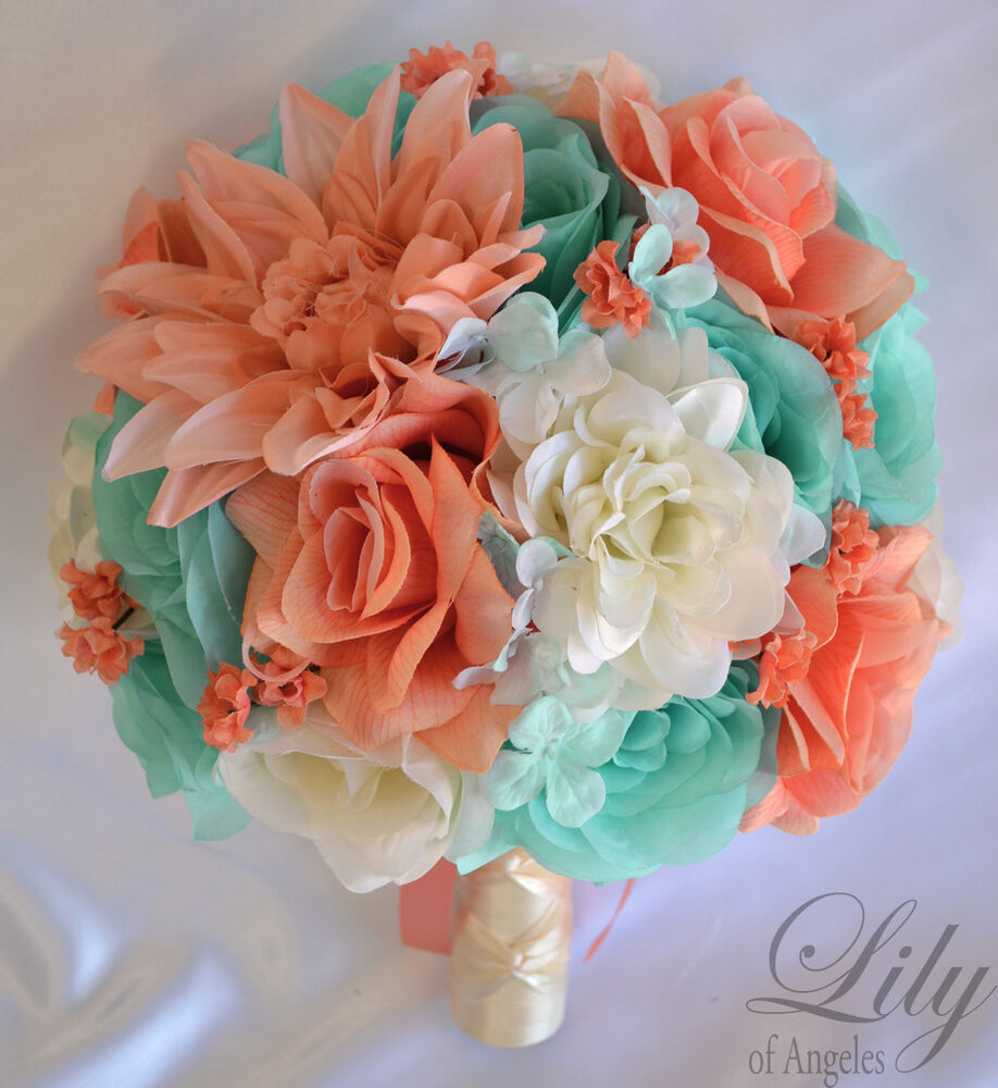 Coral And Pink Wedding Flowers: 17 Piece Package Silk Flower Wedding Bridal Bouquets CORAL