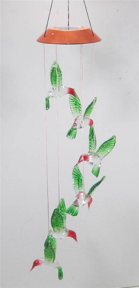 Led Lighted Hummingbird Color Changing Solar Mobile Yard