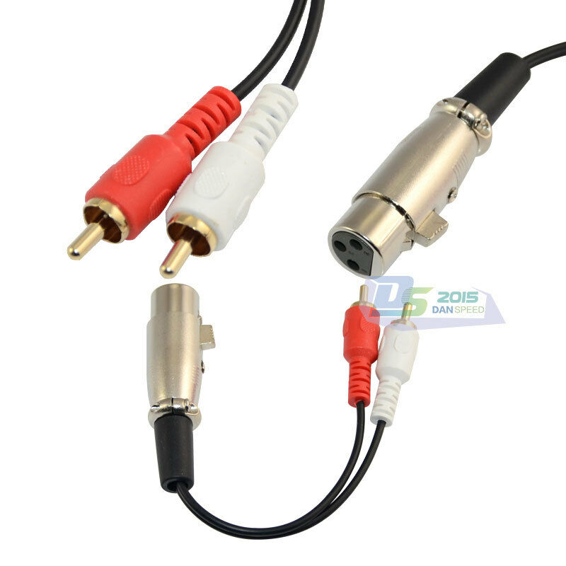 red white 2 rca male to xlr female stereo audio speaker amp y cable cord 15cm 5 ebay. Black Bedroom Furniture Sets. Home Design Ideas